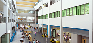 The approved design for the proposed $122M third high school includes expanded career and techology areas and an outdoor classroom. (courtesy rendering)