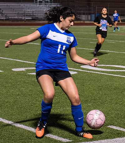 The Lehman Lady Lobos continued preparations for the upcoming season by hosting their annual alumni game at Lobo Field. Three goals scored by former Lobos Pamela Lasprilla, Pressley Bailey and Mariah Tamayo gave the alums a 3-0 win. (photo by Greg Gillenwater)