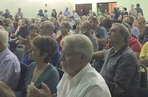 Hundreds of residents packed into the Wimberley Community Center Jan. 12 to hear members of the Citizens Alliance for Responsilbe Development speak on the city's wastewater woes.  (photo by Moses Leos III)